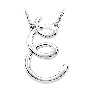 14k White Gold, Olivia Collection, Medium Script Initial E Necklace