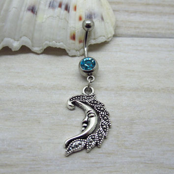 Antique silver  crescent moon belly button ring ,  moon charm, navel piercing, belly button ring jewelry,unique gift