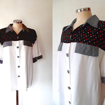 Cherry print yolk blouse / daisy flowers / gingham / vintage / retro / 1950s style / western / rockabilly / collar / oversized button shirt