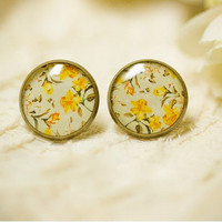 Nice Yellow Flower Retro Earrings