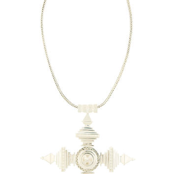 Ktz Silver Oversized Amulet Pendant Necklace