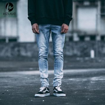 HZIJUE streetwear casual patches jean fashion pants rockstar moto rock city blue white 424 designer acid wash mens skinny jeans