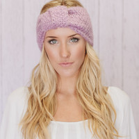 Knitted Turban Headband with Knot In Lilac