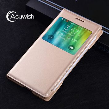Asuwish Smart View Flip Cover Leather Case For Samsung Galaxy A5 2015 A500 A500H A5000 A500F A500FU Original Phone Case Cover