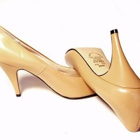 Vintage Leather Shoes High Heel Pumps Butterscotch Yellow 6 1/2 NOS