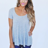 Fine Knit High-Low Top- Grey