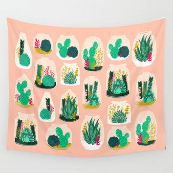 Terrariums - Cute little planters for succulents in repeat pattern by Andrea Lauren Wall Tapestry by Andrea Lauren Design