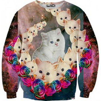 Womens Mens 3D Print Realistic Space Galaxy Animals Hoodie Sweatshirt Top Jumper The white cat
