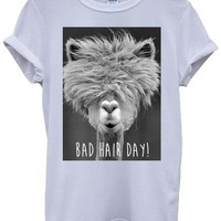 Bad Hair Day Llama Lama Funny Hipster Swag White Men Women Unisex Top T-Shirt