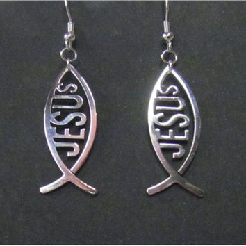 High Gloss Hand Polished Silver Jesus Fish Cut Out Earrings Necklace Stainless Steel Ichthus Ichthys ΙΧΘΥΣ Greek - Saint Michaels Jewelry
