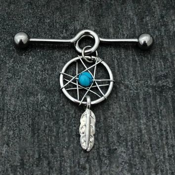 14, 16 Gauge Dreamcatcher Industrial Barbell, Stainless Steel Scaffold.......Available Barbell sizes 32mm, 35mm, 38mm