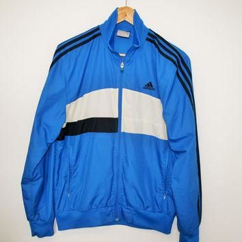 Blue 3 Stripes ADIDAS Windbreaker Trainer Jogging Sports Lightweight Jacket Blue Track