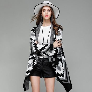 Autumn New Style Geometric Pattern Turn-down Collar Knitted Cardigan Fashion Women's Clothing Long Sleeve Coat