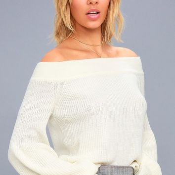 Good Going Cream Knit Off-the-Shoulder Sweater