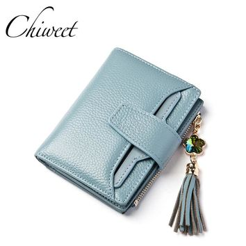 Brand 2017 Cow Genuine Leather Women Wallets Tassel Diamond Lettice Ladies Short Wallet Female Money Clip Three Fold Mini Purse