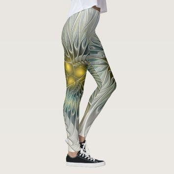 Golden Flower Fantasy, abstract Fractal Art Leggings