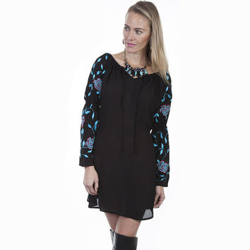 Scully Womens Western Scoop Neck Tie Front Embroidered Dress