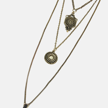 Black Jeweled Triple Layer Necklace - Gold