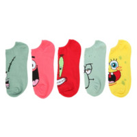 SpongeBob SquarePants Character No-Show Socks 5 Pair