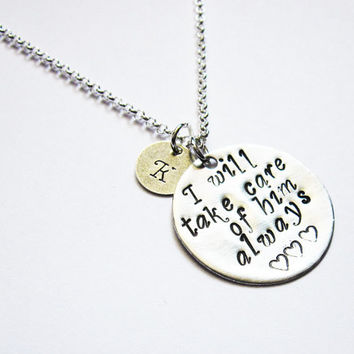 Mother In Law Necklace initial, New Mother in Law, Mothers Day, Mother of the Groom Gift, In Law Gift, I will take care of him always charm