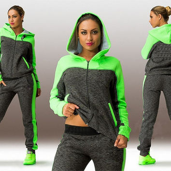 Women Tracksuits Long-sleeve with Hoodie