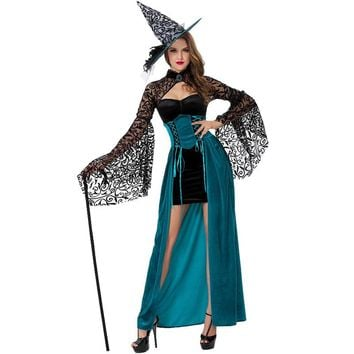 Gothic Witch Halloween Costume Women Party Fancy Dress Female Maxi Long Cosplay Witch Dress Halloween Cosplay Clothing