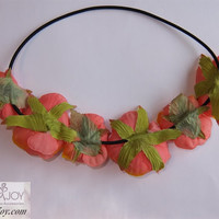 Exotic Peach Pink Floral Flower Boho Style Women Girls Hair band Headband Festival Party Wedding Garland
