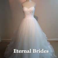 Inspired Sweetheart Tulle Ruched Bodices with floral applique crystal Ball Gown Wedding Dress