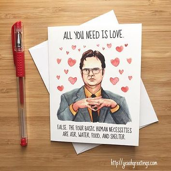 YEAOH GREETINGS Dwight Schrute Office Love Card
