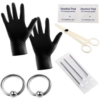 10pcs/lot Pro Body Piercing Kits Puncture with Ear Nose Eyebrow Sets Plier Piercings Clamp Steel Needles Tool Kits Body Jewelry