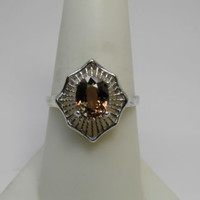 New 1.52ct Golden Orange Champagne Tourmaline Sterling Silver ring size 8