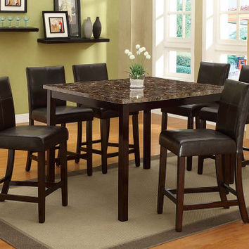 Bonded Leather, Marble Top   Pompei 5 Piece Counter Height Dining Set   American Freight