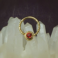Gold Plated Septum For Pierced Nose With Garnet Stone - Twisted Ring - Septum Jewelry - Septum Piercing - Nose Jewelry - Real Septum