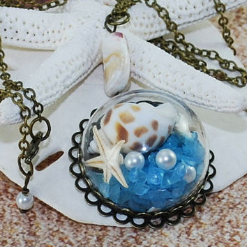 Seashell Necklace Antique Brass Pearls Terrarium Jewelry Glass Necklace Beach Necklace Sea Jewelry Ocean Nautical Glass Bottle Pendant Gift