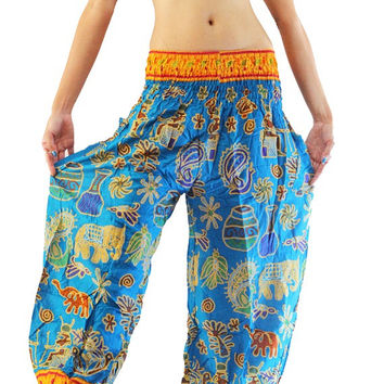 Blue sky elephant Pants Yoka Pants Harem Pants Hippie Boho pants Women Pants gypsy hooping
