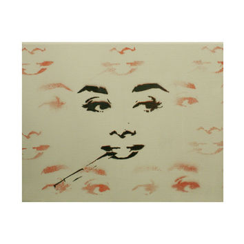 AUDREY HEPBURN Stylish Smoker Exploration 8x10 Original Graffiti Inspired Stencil Spray Paint and Acrylic Paint Pop Art Portrait