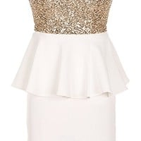 Platinum Peplum Dress | White Gold Sequin Party Dresses | Rickety Rack