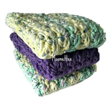 Handmade Kitchen Dishcloths Purple Green Yellow Pastel Shabby Dish Cloths Cotton Wash Cloths Crochet Set of 3