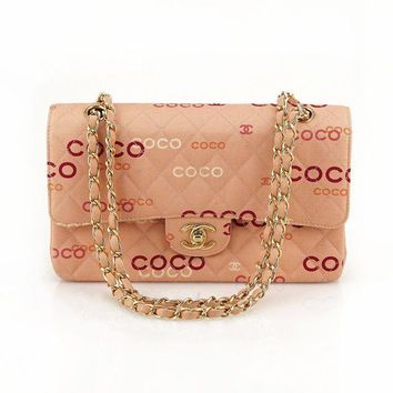 CHANEL Vintage Pink COCO Canvas Double Flap Quilted Shoulder Bag Handbag Classic