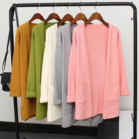 None-Button Cuffed Sleeve Pocket Knitted Cardigan