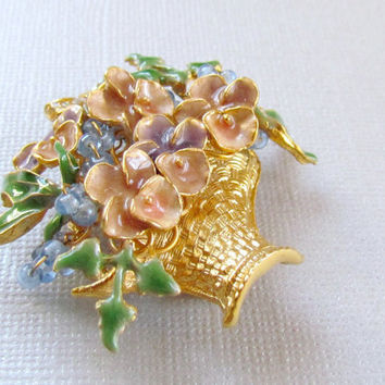 Gold Flower Basket Brooch Pastel Enamel Pin