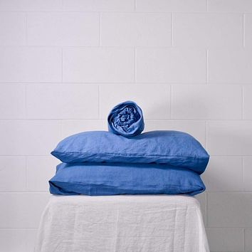 Belgian Linen Simple Fitted Sheet 3 Piece Set in 14 Colors