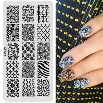 1 pc Nail Stamping Plates Plastic Stamping Plate Lace Flower Animal Pattern Nail Art Stamp Stamping Template XYL