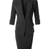 LE3NO Womens Fitted Blazer and Skirt Suit Set with Faux Leather Belt