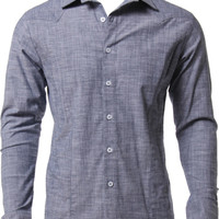 Cotton Chambray Button-Down Long-Sleeve Mens Shirt