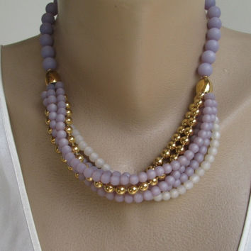 Napier Lavender White Gold Multi-Strand Swag Necklace Vintage Designer Jewelry