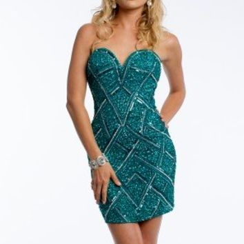 Strapless Criss Cross Seqin Dress