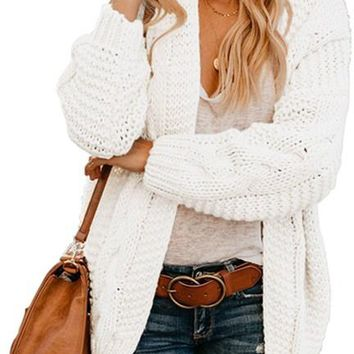 Fashion White Chunky Wide Long Sleeve Knit Cardigan