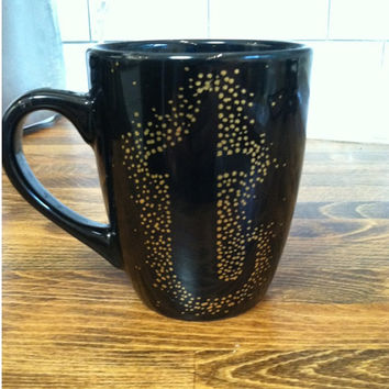 initial personalized mug / coffee cup , monogram mug , personalized coffee mug - black