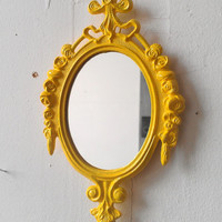 Decorative Wall Mirror or Frame in Vintage Lemon Yellow Frame - Revived Vintage